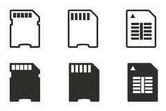 Memory card icon set. Memory card vector icons set. Black illustration isolated on white background for graphic and web design vector illustration