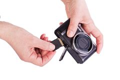 Memory Card  inserted in the camera. Royalty Free Stock Photography