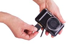 Memory Card  inserted in the camera. Stock Image