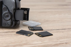 Memory card. For photographers Plug in card slot Stock Images