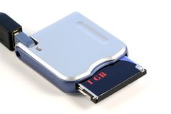 Memory card reader. Isolated Royalty Free Stock Photo