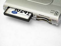Memory Card Reader with Inserted Card Stock Images