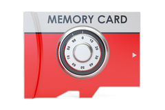 Memory card with safe combination dial lock, 3D rendering Royalty Free Stock Images