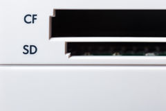 Memory card slot close up Royalty Free Stock Image