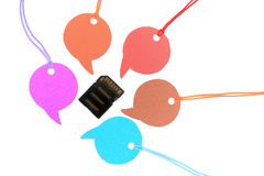 Memory card and speech bubbles Stock Image