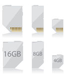Memory card white Stock Photos