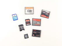 Memory cards. Different sized compact flash (CF ) and secure digital (SD) cards Royalty Free Stock Images