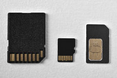 Memory cards. SD, xD, CF, phone card isolated on white background Stock Photos