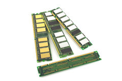 Memory chips for computer. Over white royalty free stock photo