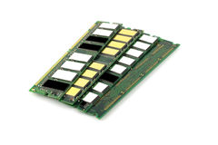 Memory chips for computer. Over white stock images