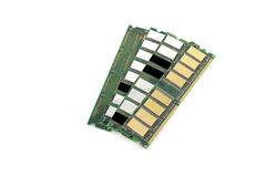 Memory chips for computer. Over white royalty free stock images