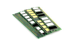 Memory chips for computer. Over white stock photography