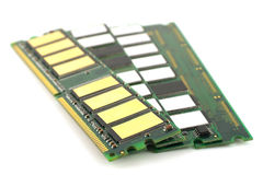 Memory chips for computer. Over white, shallow DOF stock images