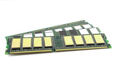 Memory chips for computer. Over white, shallow DOF stock photos