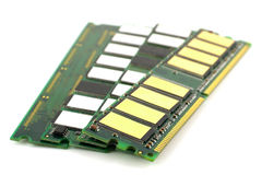 Memory chips for computer. Over white, shallow DOF stock photo