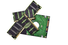 Memory Chips and Hard Drive Royalty Free Stock Photo