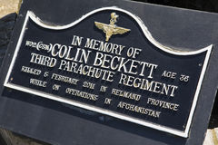 In Memory of Colin Beckett Plaque Royalty Free Stock Photography