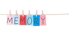 Memory, Colorful words hang on rope Royalty Free Stock Images