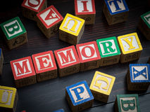 Memory concept. On colorful blocks Stock Photo