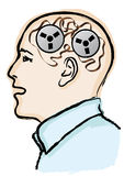 Memory confusion. Illustration with a head in profile Stock Photography