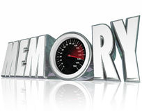 Memory 3d Word Speedometer Improving Recall Mental Health. Memory word in 3d letters with a speedometer and needle racing to illustrate improving mental health Stock Photos