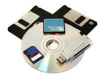 Memory Devices. A collection of memory storage devices old and new stock photo