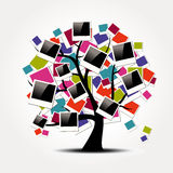 Memory family tree with polaroid photo frames Royalty Free Stock Photo