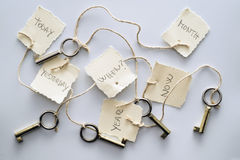 Memory. Five keys tied to six tags. allegory of memory and oblivion Stock Photography