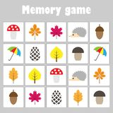 Memory game with pictures autumn theme for children, fun education game for kids, preschool activity, task for the development o vector illustration