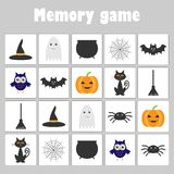 Memory game with pictures halloween theme for children, fun education game for kids, preschool activity, task for the developmen stock illustration