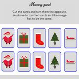 Memory game with cards to cut!. A simple memory game for kids, where you have to cut the cards, and turn them the opposite. After that, you have to try match Royalty Free Stock Photos