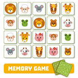 Memory game for children, cards with animals Royalty Free Stock Images
