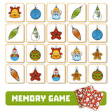 Memory game for children, cards with Christmas tree toys Stock Image
