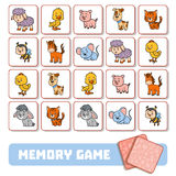 Memory game for children, cards with Farm animals Stock Photo