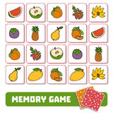 Memory game for children, cards with fruits Stock Image