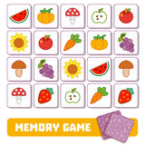 Memory game for children, cards with fruits and vegetables Royalty Free Stock Photos