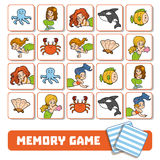 Memory game for children, cards with mermaids and fishes Stock Photo