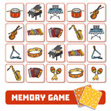 Memory game for children, cards with musical instruments Royalty Free Stock Images