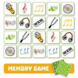 Memory game for children, cards with musical objects Stock Photography