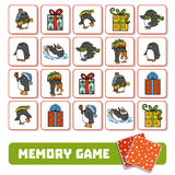 Memory game for children, cards with penguins and gifts. Memory game for children, cards with penguins and Christmas gifts Stock Images