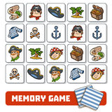 Memory game for children, cards with pirate characters and items Royalty Free Stock Photography