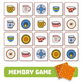 Memory game for children, cards with plates and mugs Royalty Free Stock Photos