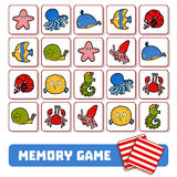 Memory game for children, cards with sea animals Royalty Free Stock Photos
