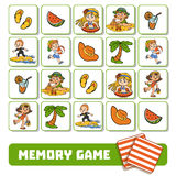 Memory game for children, cards with summer children and objects Royalty Free Stock Photo