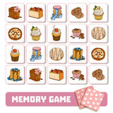 Memory game for children, cards with sweets and cakes Stock Photos