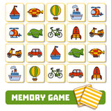 Memory game for children, cards with transport objects Stock Photography