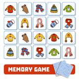 Memory game for children, cards with winter accessories Royalty Free Stock Images