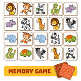 Memory game for children, cards with zoo animals Royalty Free Stock Photography