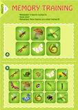 Memory game children Insects Stock Photo