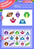 Memory game children shapes 11. Memory game children. learning of geometry shapes. Memory training Stock Images